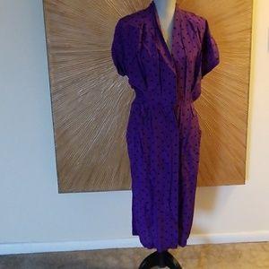 VINTAGE purple w/black polka dot dress